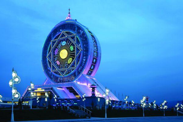 Ashgabat Alem Cultural of Center night